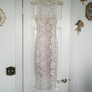 White brocade lace dress
